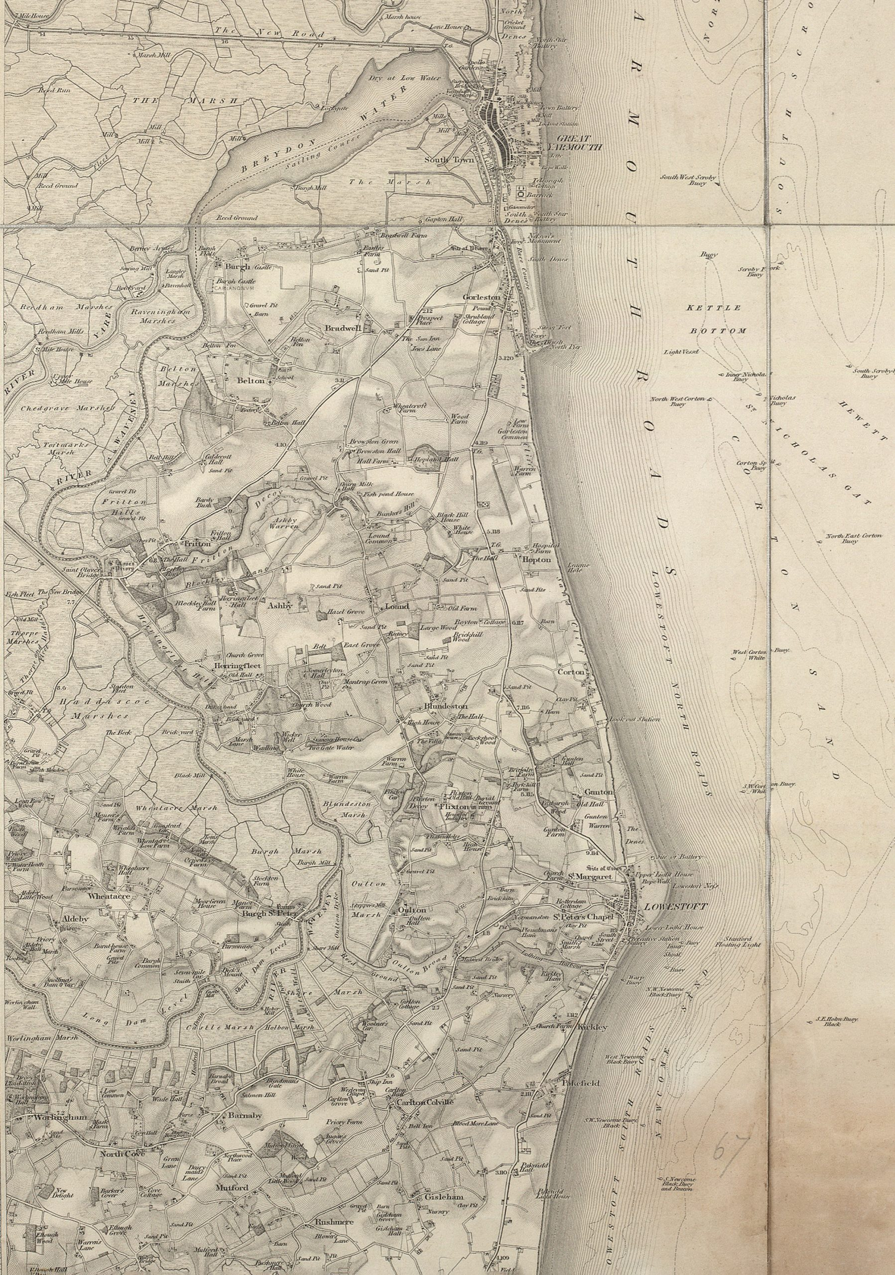 Map showing an enlarged view of Lowestoft and surrounding areas in  1856